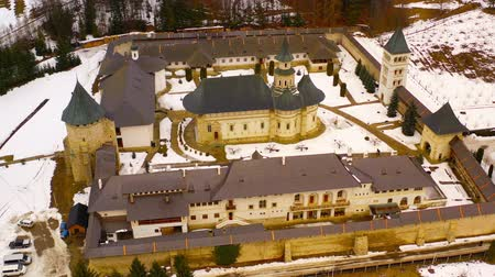 Drone flying above Putna monastery. One of the most important romanian monastery, Putna. The monastery was built and dedicated by Stephen the Great