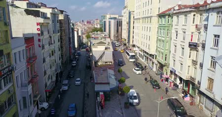 Drone flight over the streets of Istanbul between the houses