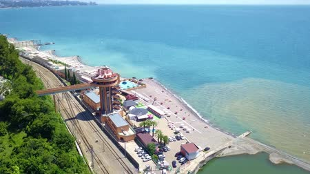 sochi : Sochi Black sea beach and railway bridge from top Stock Footage