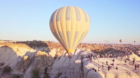 Cappadocia Turkey view from above shot by a drone balloons. Dostupné videozáznamy