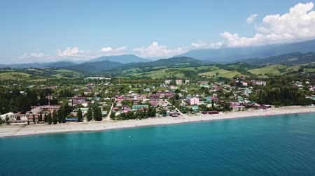 sochi : July 2017 beach near border of Abkhazia and Russia