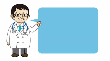 médicos : Doctor explaining by Speech Bubble -Animation Stock Footage