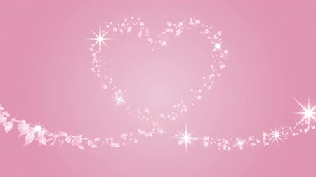pink : Traced Heart shape by Particle petals-Pink color