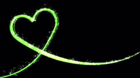 heart shaped : Heart shaped growing shiny Particle and line-Green color