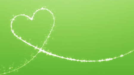 flowing lines : Heart shaped growing shiny Particle and line-Green Background