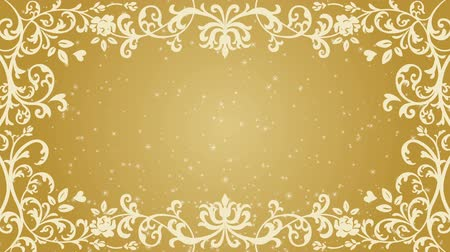 cártula : Growing floral frame and Glitter animation-Golden color