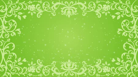 cártula : Growing floral frame and Glitter animation-Green color