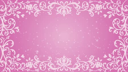 cártula : Growing floral frame and Glitter animation-pink color