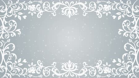 cártula : Growing floral frame and Glitter animation-Silver color