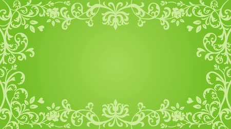 cártula : Growing floral frame-Green color