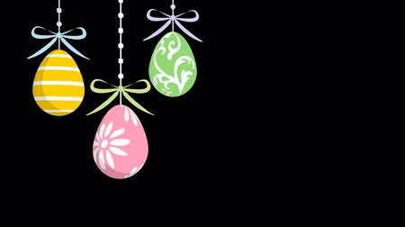 title : Alpha channel file-Three Easter Eggs Hanging down animation