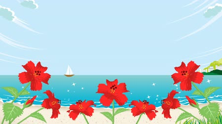 flower buds : Blooming Hibiscus and waving sea animation-below