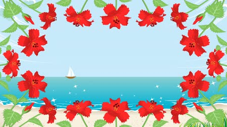 hibiscus : Blooming Hibiscus and waving sea animation-Round frame Stock Footage
