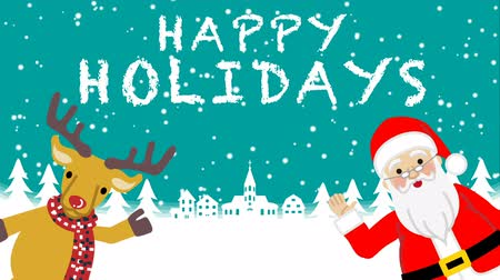 sob : Santa and Reindeer Speaking and Waving hand animation-Happy Holidays