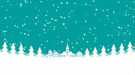 kościół : Christmas Snowing town Motion background-Copy Space Wideo