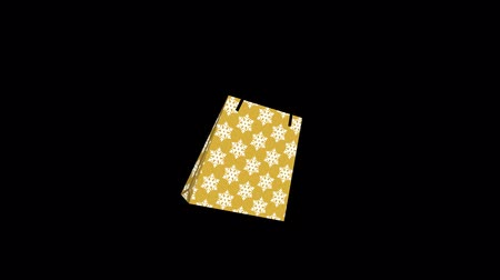 появление : Alpha channel file Appeared Shopping bag animation-single object, snowflake pattern gold color