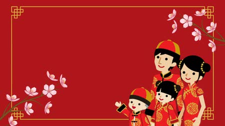 ukłon : Animation of the Family who wearing Chinese National costume and Blooming cherry blossom twigs-Red color background Wideo