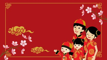 ukłon : Animation of the Family who wearing Chinese National costume and Decorative motion background-Red color