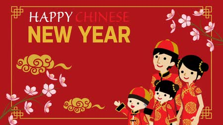 flor de cerejeira : Chinese New year animation, Family who wearing Chinese National costume and greeting word, Decorative motion graphics-Re d color background