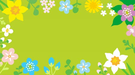 jardim : Loop-ready File - Swinging flowers animation, Round frame-green color background