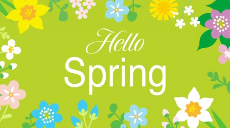 jardim : Swinging animated flowers constitute Round frame, including word Hello Spring-Green color background Vídeos