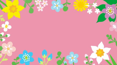 jardim : Loop-ready File - Swinging flowers animation, Round frame-Pink color background