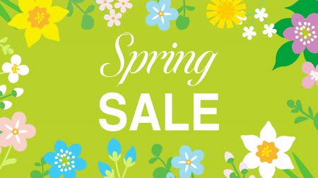 narcyz : Swinging animated flowers constitute Round frame, including word Spring SALE-Green color background