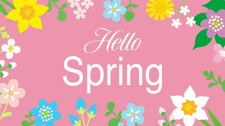 jardim : Swinging animated flowers constitute Round frame, including word Hello Spring-Pink color background