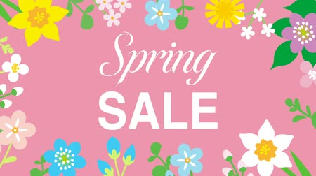 jardim : Swinging animated flowers constitute Round frame, including word Spring SALE-Pink color background