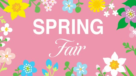 jardim : Swinging animated flowers constitute Round frame, including word SPRING Fair-Pink color background
