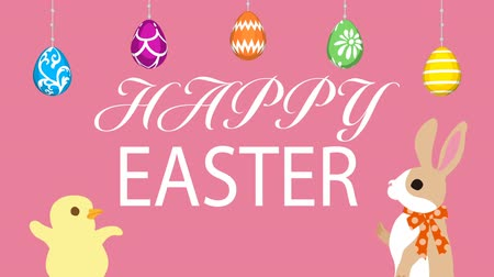 Motion Graphics-pink colored background, Hanging eggs, Bunny talking with Chick and Easter greeting animation