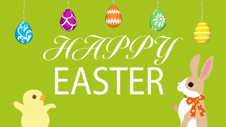 Motion Graphics-Green colored background, Hanging eggs, Bunny talking with Chick and Easter greeting animation