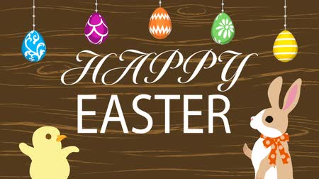Motion Graphics-Woody texture background, Hanging eggs, Bunny talking with Chick and Easter greeting animation