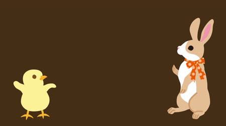 Bunny talking with Chick, brown colored background-full length