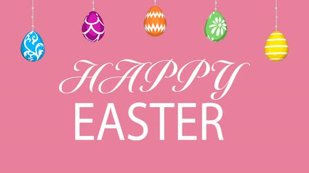 Hanging eggs, Easter greeting animation and motion Graphics-Pink colored background