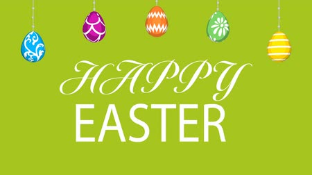 Hanging eggs, Easter greeting animation and motion Graphics-Green colored background Wideo