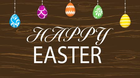 Hanging eggs, Easter greeting animation and motion Graphics-Woody texture background