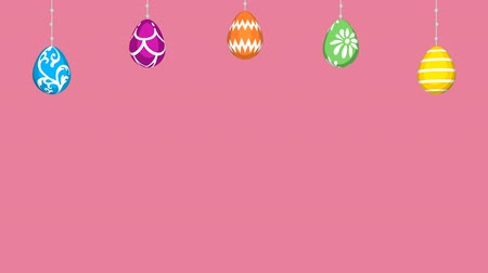 Easter eggs Hanging animation-Pink colored background Wideo
