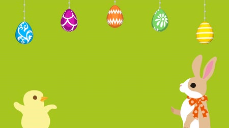 Easter greeting animation Bunny talking with Chick, Hanging eggs-Green colored background