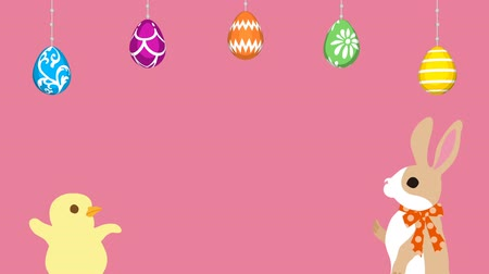 Easter greeting animation Bunny talking with Chick, Hanging eggs-Pink colored background