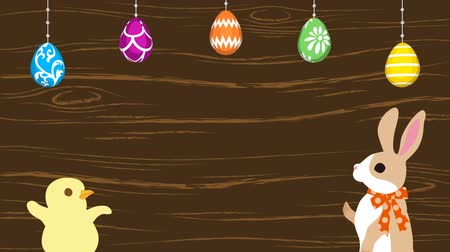 Easter greeting animation Bunny talking with Chick, Hanging eggs-Woody texture background