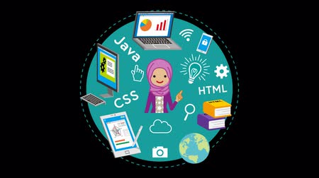 Alpha channel file, e-learning Concept animation-Muslim woman Wideo