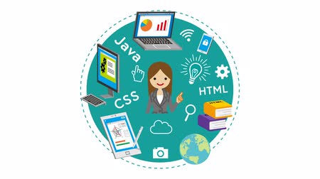 E-learning Concept animation-Businesswoman Wideo