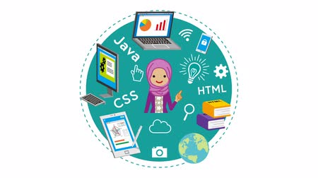E-learning Concept animation-Muslim woman