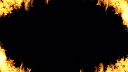 Frame of fire surrounded motion graphics Black background