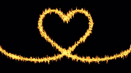 megolvad : Burning fire along the Heart shaped fuse - Black background