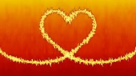 Burning fire along the Heart shaped fuse - Red color background Wideo