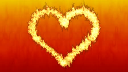veszélyes : Burning fire along heart shaped-Red color background