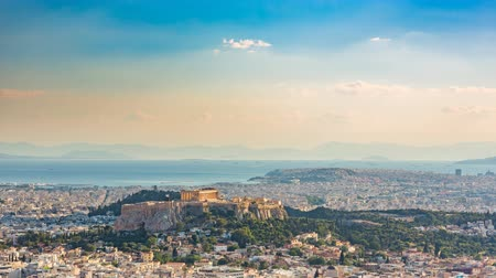 акрополь : Panoramic aerial view of Athens, Greece - Timelapse at summer day