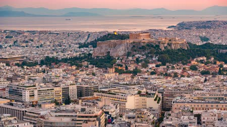 акрополь : Panoramic aerial view of Athens, Greece - Timelapse of summer sunset